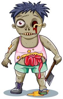 Zombiecharakter auf weißem hintergrund