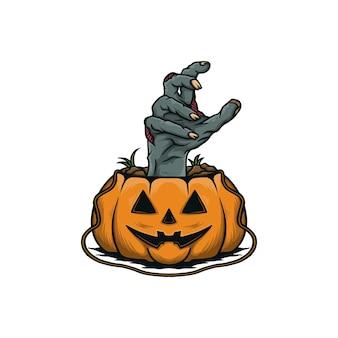 Zombiehände auf halloween-kürbis-vektorillustration