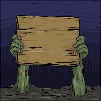 Zombiehand gestiegen vom land, das hölzernes brett hält. bereit, jede art von text hinzuzufügen