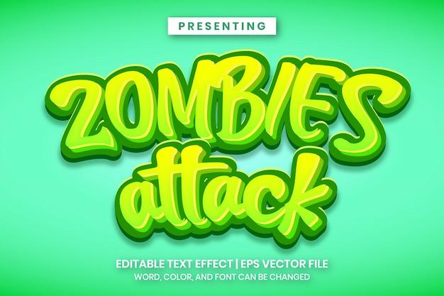 Zombies greifen den bearbeitbaren texteffekt im cartoon-spiel-logo-stil an