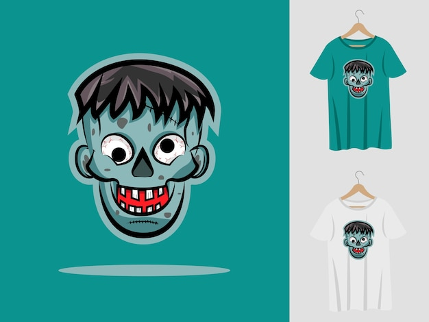 Zombies halloween maskottchen design mit t-shirt.