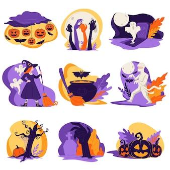 Zombies und kürbisse, kürbislaterne und hexe. halloween-kreaturen und traditionen auf herbstveranstaltung, kessel mit trank, hand von untoten und erschreckende landschaft mit baum, vektor im flachen stil flat