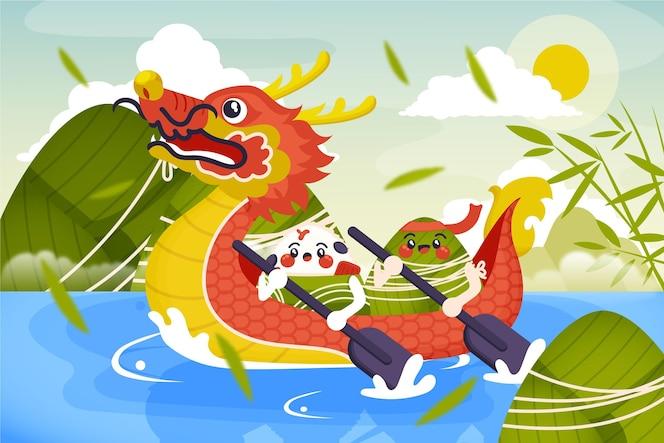 zongzi-hintergrund des organischen flachen drachenboots
