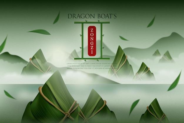 Zongzi-hintergrund des realistischen drachenboots