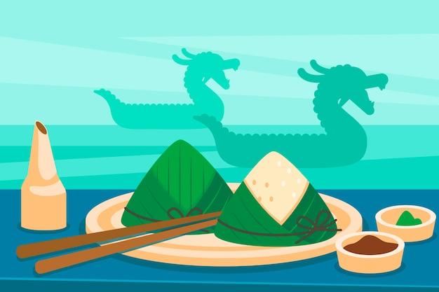 Zongzi-kollektion des drachenboots mit flachem design