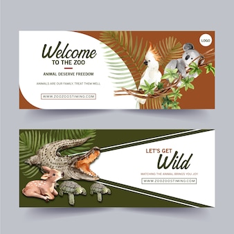 Zoo banner design mit krokodil, vogel, hirsch aquarell illustration.