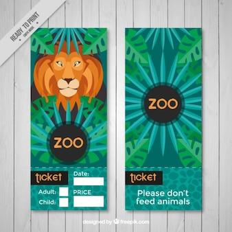 Zoo banner mit pflanzen und löwe