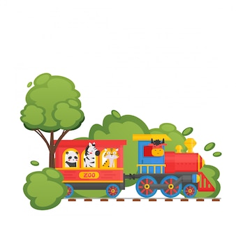 Zoo kinder trainieren auf kinderbahn, panda, tiger, kuh, zebra, lokalisiert auf weißer, flacher illustration. grüner wald.
