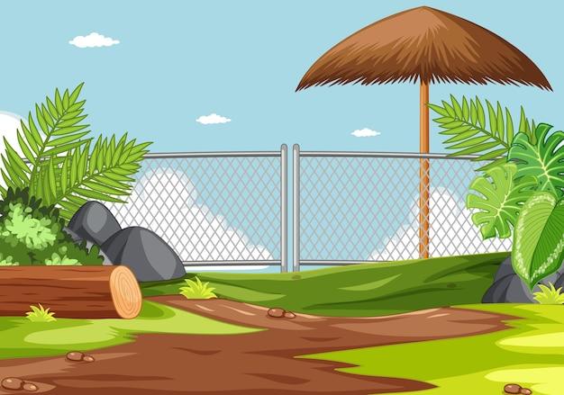Zoo park ohne tierszene