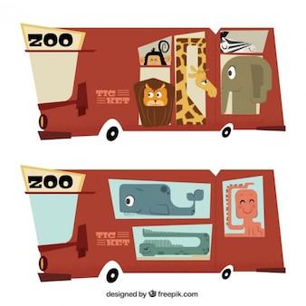 Zoo-ticket bus im vintage-stil geformt