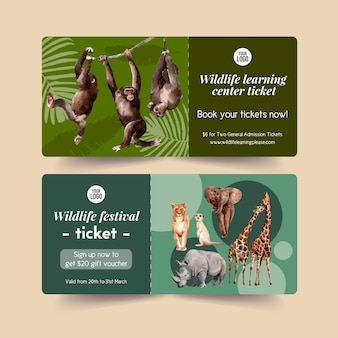 Zoo ticket design mit affe, erdmännchen, tiger aquarell illustration.
