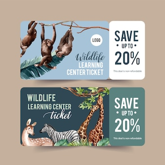 Zoo ticket design mit giraffe, affe aquarell illustration.