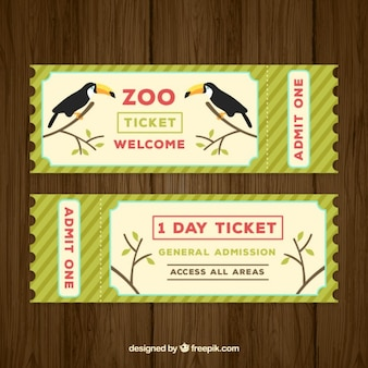 Zoo-ticket mit zwei tukane