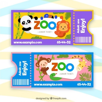 Zoo-tickets mit comic-tiere