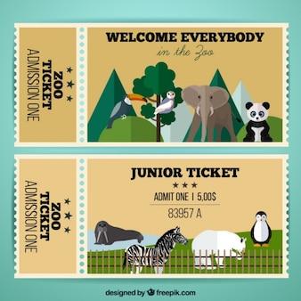 Zoo-tickets mit flachen wildtiere