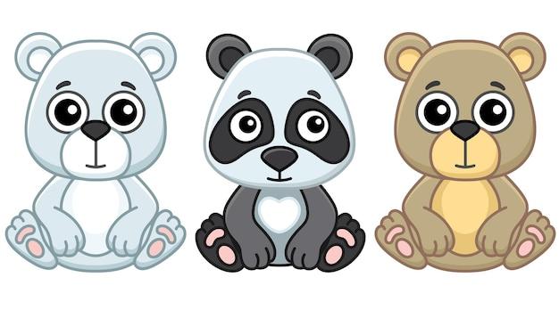 Zoo tiere. lustiger kleiner panda, eisbär und grizzlybär im cartoon-stil