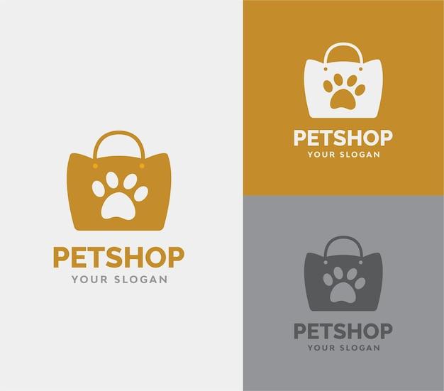 Zoohandlung mit tasche und pfotensilhoutte-logovektor