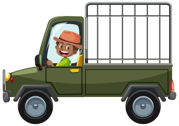 Zookonzept mit fahrermann fährt käfigauto isoliert