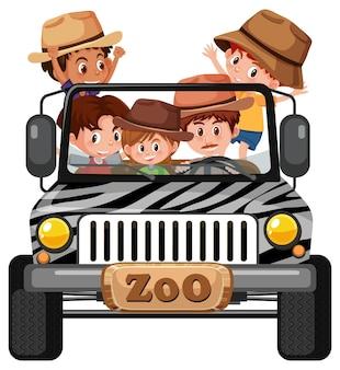 Zookonzept mit kindergruppe im auto isoliert auf weißem hintergrund