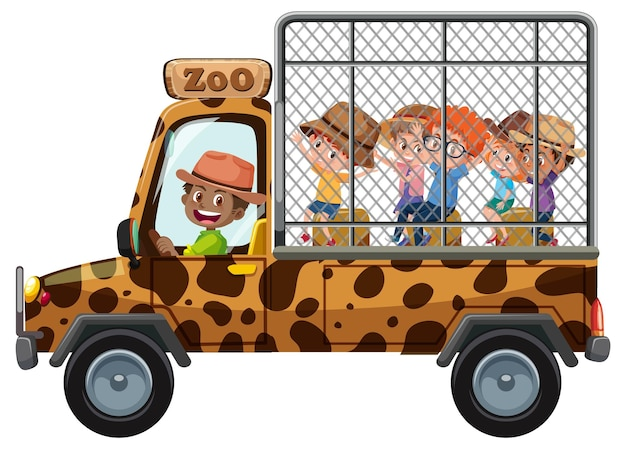 Zookonzept mit kindern auf touristischem auto lokalisiert auf weißem hintergrund