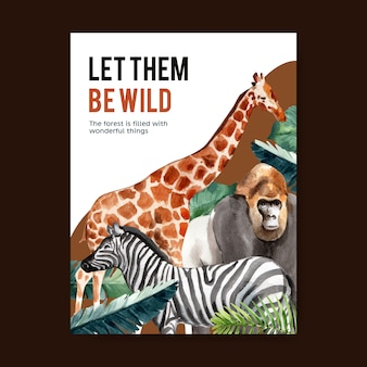 Zooplakatdesign mit affen-, zebra-, giraffenaquarellillustration.