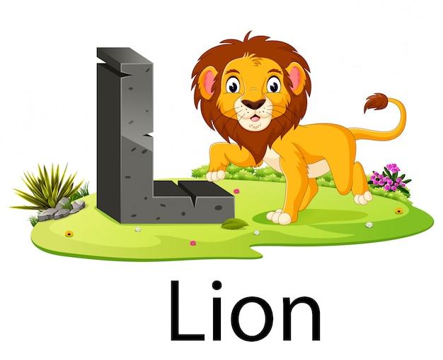 Zootieralphabet l für löwe mit dem niedlichen tier