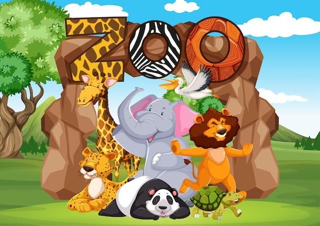 Zootiere im wilden naturhintergrund Premium Vektoren