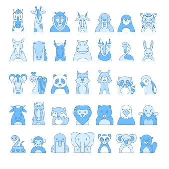 Zootiere-porträt mit flachem design