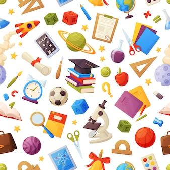 Zu den nahtlosen schulmustern gehören: bücher, globus, tablett, lupe, kugel, alarm, lineal, flaschen, notizbuch, kappe, notenliste.