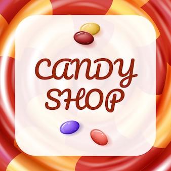 Zu druckendes plakat. süßigkeitenladen. baby-süßigkeiten.