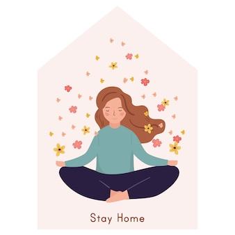 Zu hause bleiben konzept. meditation der jungen frau