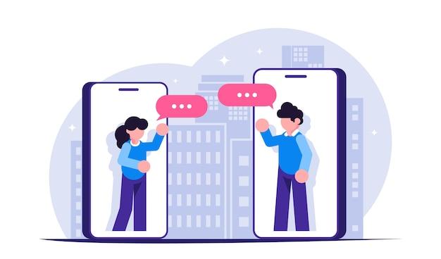 Zu hause bleiben. menschen kommunizieren während einer epidemie oder isolation über messenger in mobiltelefonen