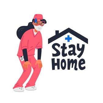 Zu hause bleiben. müde junge krankenschwester in rosa peelings und bleiben zu hause zeichen.