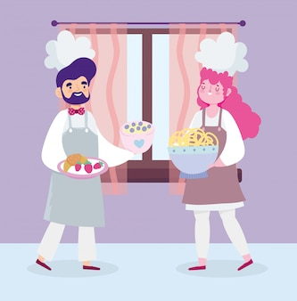 Zu hause bleiben, weiblicher und männlicher koch dessert essen cartoon, kochen