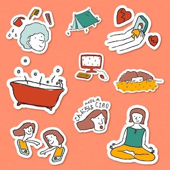 Zu hause stecken, um doodle-sticker auf der liste zu machen