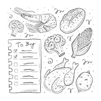 Zu kaufen liste hand gezeichnete gekritzel illustration. auf weißem hintergrund isoliert. leicht zu ändernde farbe. checkliste, huhn, brokkoli, mais, garnelen, brot. markt, laden.