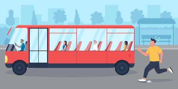 Zu spät für die flache farbvektorillustration des busses sein. kerl hat den transport verpasst. person, die pendler verfolgt. schlechte angewohnheit zu spät zu kommen. laufender mann in eile 2d-cartoon-figur mit stadtbild im hintergrund