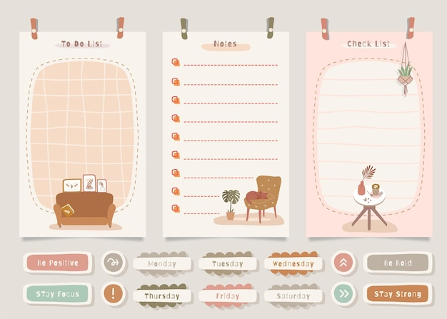 Zu tun liste notizpaket mit wohnkultur thema illustration.