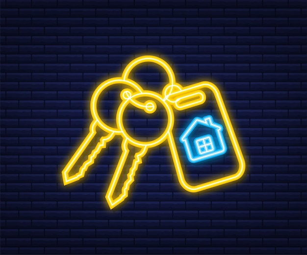 Zu vermieten haus, konzept. immobilienmakler hält den schlüssel vom haus. neon-stil. vektor-illustration.