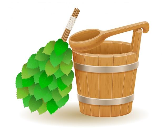 Zubehör für dampfbad- oder saunavektorillustration