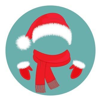 Zubehör für das neue jahr. hut weihnachtsmann, schal und handschuhe.