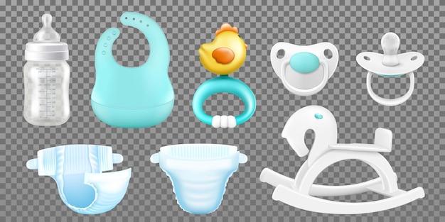 Zubehör für die babypflege. realistische kindliche einzelstücke, hygieneprodukte, babyflasche für milch, schnuller für neugeborene, brustwarzen, holzschaukelpferd für kinder, babylätzchen, rassel, windeln. vektor