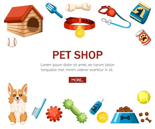 Zubehör für die haustierpflege. dekorative ikonen der tierhandlung. zubehör für hunde. illustration auf weißem hintergrund. konzept für website oder werbung