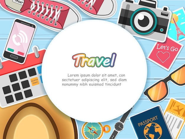 Zubehör reisen um die welt konzept.