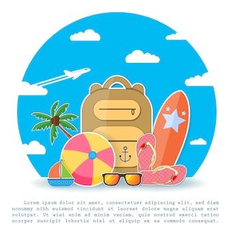 Zubehör reisen und kokosnussbaum
