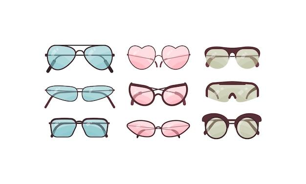 Zubehör sonnenbrille set sammlung von bunten sonnenbrillen