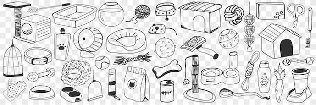 Zubehör und spielzeug für hunde doodle set. sammlung von handgezeichneten pinsel, futter, leine, zwinger, knochen, spielzeug, fäustling, spielplatz und anderem zubehör für haustiere hunde isoliert