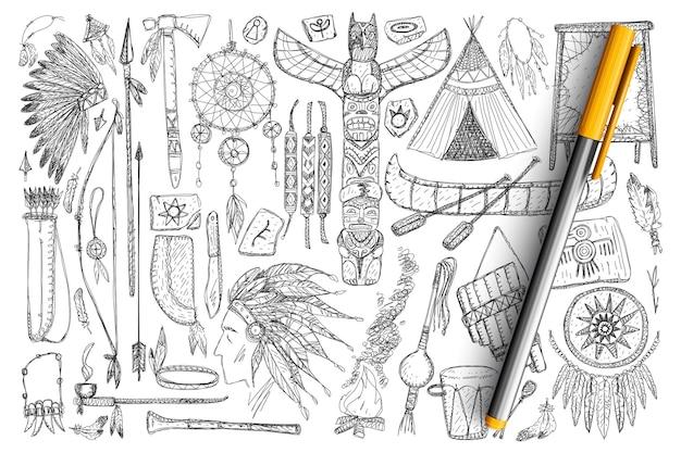Zubehör, wenn indianer kritzeln. sammlung von handgezeichneten federn, werkzeugen, musikinstrumenten, booten, jagdwerkzeugen und gepflegten symbolen isoliert.
