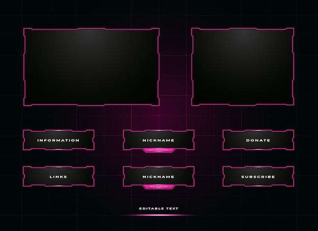 Zuckende streaming-panel-overlay-designvorlage