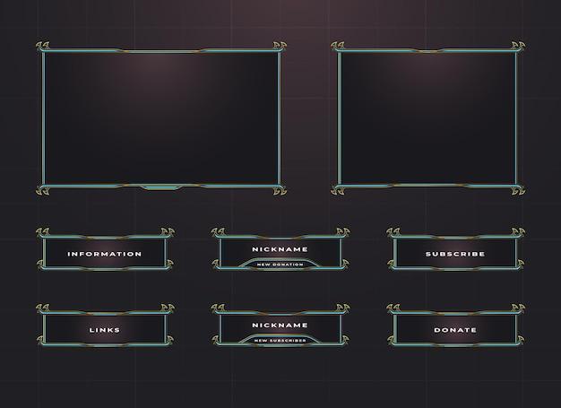 Zuckender rahmen und menüleisten-overlay-design-set